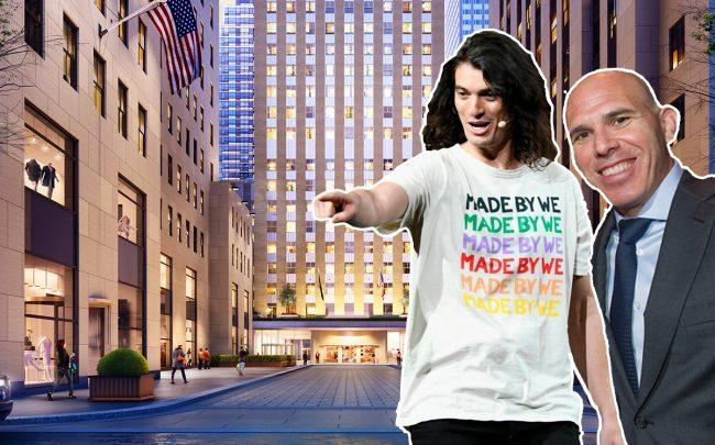 The We Company CEO Adam Neumann and RXR Realty CEO Scott Rechler and 75 Rockefeller Plaza (Credit: Getty Images and RXR Realty)