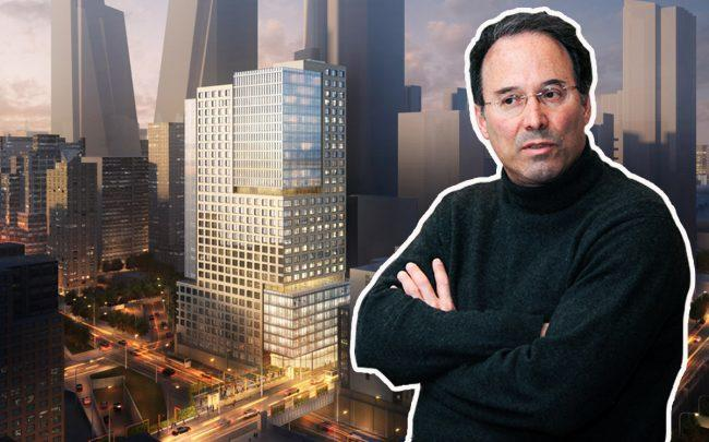 Gary Barnett and a rendering of 430 West 37th Street (Credit: Alistair Gardiner for The Real Deal)
