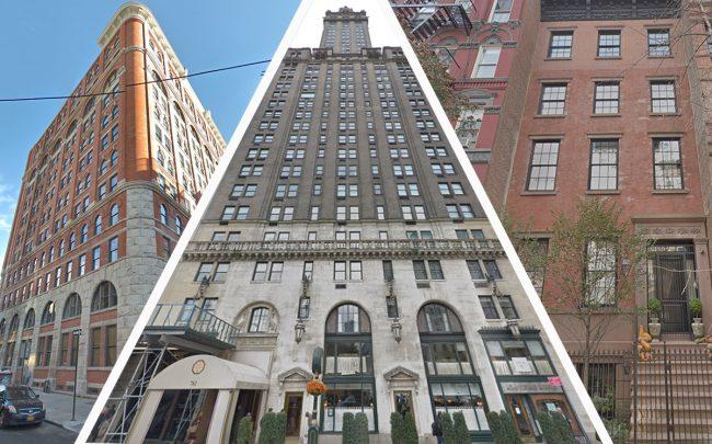 From left: 275 West 10th Street, 781 Fifth Avenue and 64 East 7th Street