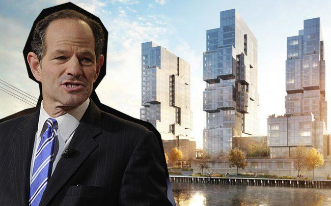 Eliot Spitzer and 420 Kent Avenue (Credit: Getty Images)