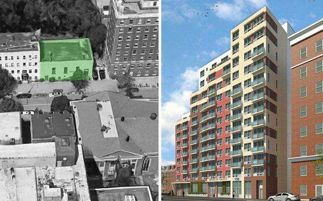 142 South Portland Avenue and a rendering of 142-150 South Portland Avenue (Credit: Google Maps and MDG)