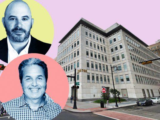 Joy Construction's Eli Weiss (top) and Maddd Equities' Jorge Madruga with 765 Broad Street in Newark (Credit: Google Maps and Getty Images)