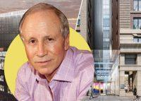 Stellar Management founder Larry Gluck with renderings of One Soho Square