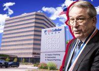 U.S. Cellular Plaza and Wells Fargo interim CEO C. Allen Parker (Credit: Colliers and Wells Fargo)