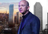 From left: One Manhattan West, Amazon CEO Jeff Bezos and One Court Square in Long Island City (Credit: Manhattan West, Getty Images, and Loopnet)