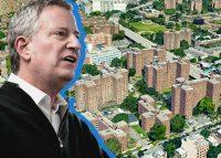 Mayor Bill de Blasio and the Ingersoll Houses at 120 Navy Walk in Brooklyn (Credit: Google Maps and Getty Images)