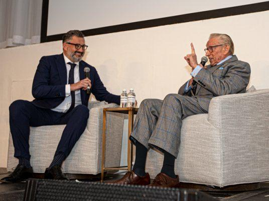 The Real Deal publisher Amir Korangy and Larry Silverstein (Credit: Emily Assiran)