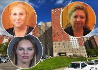 Clockwise from top left: Anna Treybich, the Mitchell Llama apartments in Coney Island, Irina Zeltser and Karina Andriyan (Credit: Luna Park Co-Op and Google Maps)