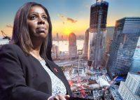 Attorney General Letitia James and World Trade Center under construction (Credit: Getty Images)