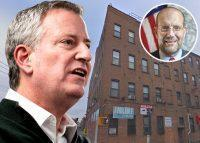Mayor Bill de Blasio and Commissioner Steven Banks and 127-03 20th Avenue (Credit: Getty Images and Google Maps)