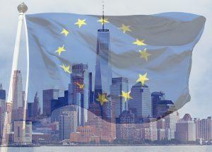 The flag of the European Union and the Lower Manhattan skyline
