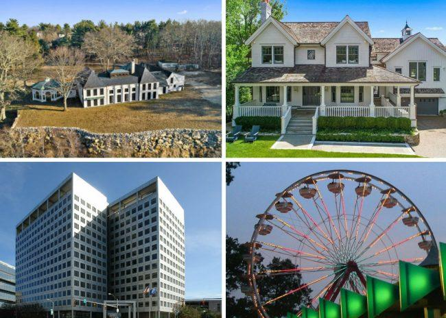 Clockwise from top left: North Castle estate to be auctioned off after Seychelles diplomat's divorce, Westchester lawmakers clash over decision to end Rye Playland contract, Charter Communications exit won't hurt its current Stamford building, exec says, and 7-building industrial and office/flex portfolio in Fairfield sells for $30M.
