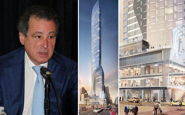 Robert Gladstone with renderings of 520 Fifth Avenue (Credit: Getty Images and CityRealty)