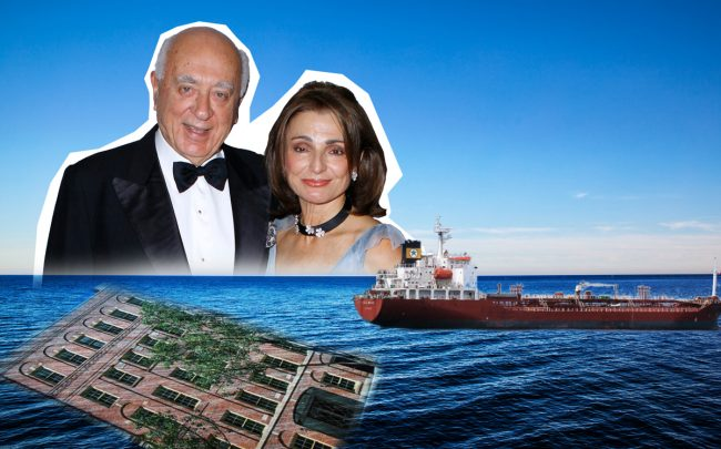 Spiros and Antonia Milonas, 40 East 72nd Street, and Ionian Management's oil tanker, the Ocean Princess (Credit: Getty Images)