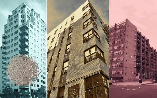 From left: 165 East 66th Street, 110 Bennett Avenue, and 2001-2045 Story Avenue in the Bronx (Credit: CityRealty)