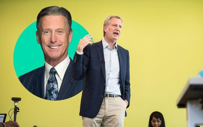 HTC president Peter Ward and Mayor Bill de Blasio (Credit: Getty Images)