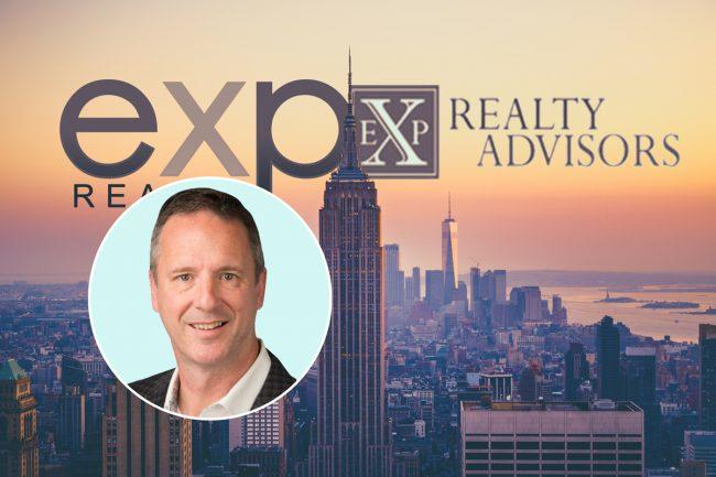 eXp Realty CEO Glenn Sanford with eXp Realty and EXP Realty Advisors logos (Credit: iStock)