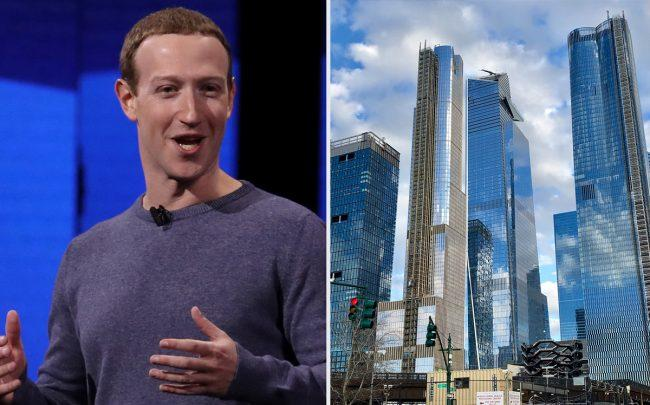 Facebook CEO Mark Zuckerberg and Hudson Yards (Credit: Getty Images and Wikipedia)