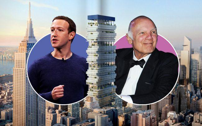 From left: Facebook CEO Mark Zuckerberg, a rendering of Penn15, and Vornado CEO Steve Roth (Credit: Getty Images and Vornado)