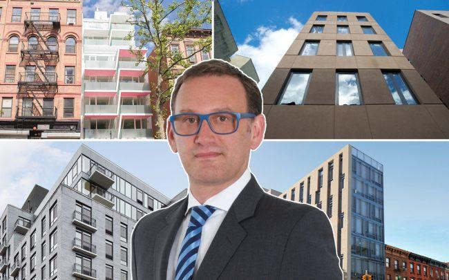 Clockwise from left: 329 Pleasant Avenue, 419 East 117th Street, 2338 Second Avenue and 2211 Third Avenue with HAP CEO Eran Polack
