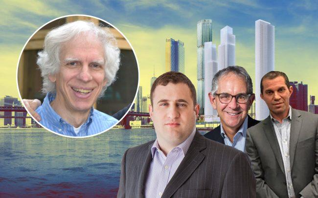 From left: Judge Arthur Engoron, JDS Development's Michael Stern, L&M's Ron Moelis, Josh Siegel of Starrett with a rendering of Two Bridges (Credit: Twitter and Curbed NY)
