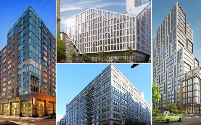 Clockwise from left: 81 Fleet Place in Downtown Brooklyn, 42-20 27th Street in Long Island City, 615 Dean Street in Brooklyn, and 45 Main Street in Dumbo
