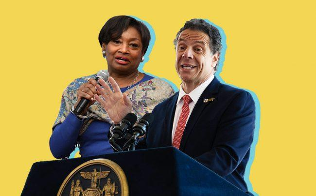 Senate Majority Leader Andrea Stewart-Cousins and Governor Andrew Cuomo (Credit: Getty Images)