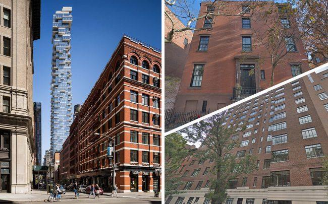 Clockwise from left: 56 Leonard Street, 15 Willow Street and 130 West 12th Street (Credit: Google Maps)