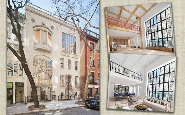 134 East 74th Street, a construction photo and a rendering of the property's double height great room (Credit: Corcoran)