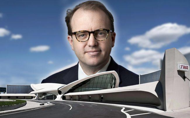 MCR Development CEO Tyler Morse and a rendering of TWA Flight Center