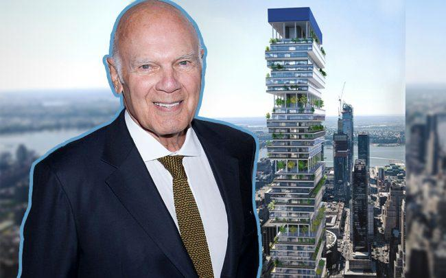 Vornado CEO Steve Roth and a rendering of 15 Penn Plaza (Credit: Getty Images)
