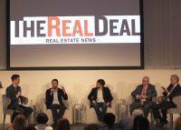 From left: The Real Deal's David Jeans, Industrious CEO Jamie Hodari, Common CEO Brad Hargreaves, Cushman & Wakefield's Bruce Mosler, and Newmark Group CEO Barry Gosin