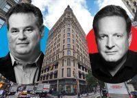 Andrew Zobler and Ron Burkle with 1170 Broadway (Credit: Google Maps, Wikipedia, and Kaplan & Company)