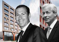 Mack Real Estate Group's Richard Mack and JPMorgan's Jamie Dimon with a rendering of 123 Melrose Street (Credit: Getty Images and ODA Architecture)
