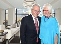 Jay and Patty Baker, 50 United Nations Plaza (inset) and the interior of Penthouse 39 (Credit: Getty Images)