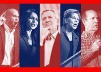 From left: Cory Booker, Tulsi Gabbard, Bill de Blasio, Elizabeth Warren and John Delaney (Credit: Getty Images)