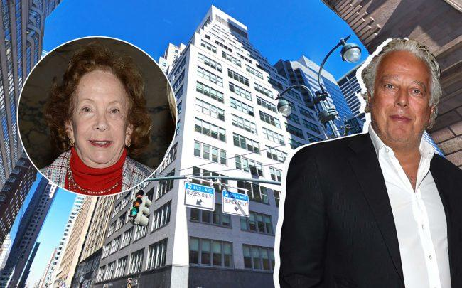 From left: Barbara Slifka, 477 Madison Avenue and RFR Holding's Aby Rosen (Credit: Google Maps and Getty Images)