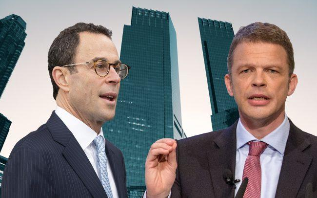 Related CEO Jeff Blau, Deutsche Bank CEO Christian Sewing, and Time Warner Center at 10 Columbus Circle (Credit: Getty Images and Wikipedia)