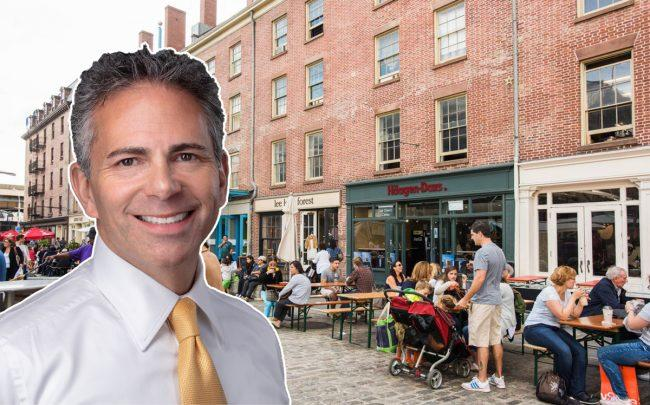 Howard Hughes CEO David R. Weinreb and South Street Seaport (Credit: NYCgo)