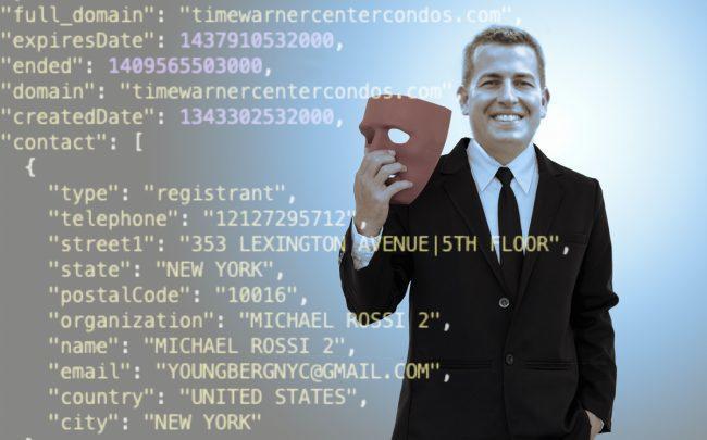 Elegran founder and CEO Michael Rossi, and a segment of the domain registry history for timewarnercentercondos.com
