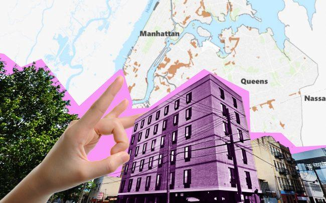 New small-scale hotel developments like the 56-key Voyage Hotel, at 37-10 11th Street in an LIC manufacturing district, may become increasingly uncommon. (Credit: Google Maps, iStock, and the Department of City Planning)