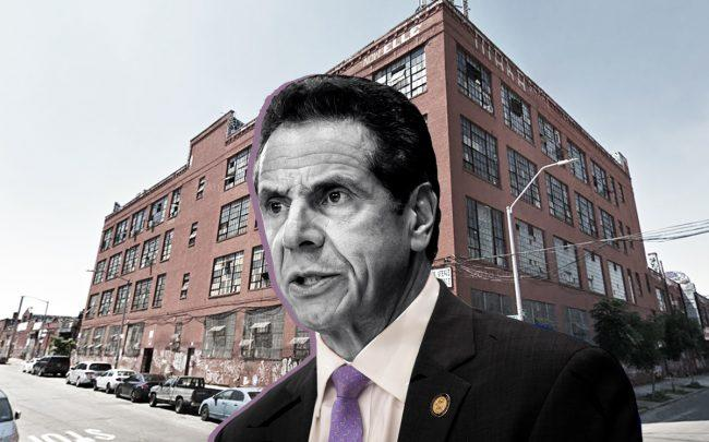 Governor Andrew Cuomo and 538 Johnson Avenue in Brooklyn (Credit: Google Maps and Getty Images)