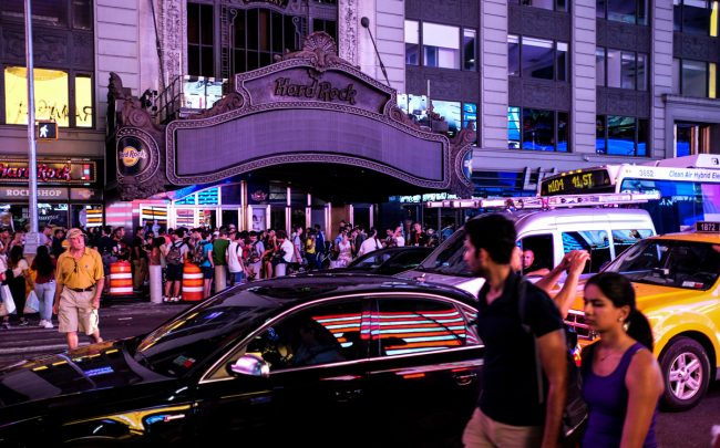 The lights of The Hard Rock Cafes marquee are out during Midtown's Saturday blackout (Credit: Getty Images)