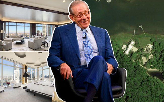 Related Companies chairman Stephen Ross and his penthouse at 25 Columbus Circle and his Hamptons property at 35 West Neck Lane (Credit: Corcoran, Getty Images and Trulia)