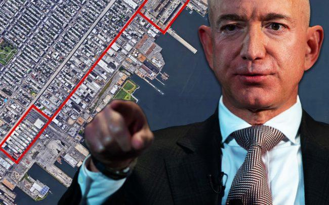 Amazon CEO Jeff Bezos and potential industrial sites in Brooklyn (Credit: Getty Images, Google Maps)