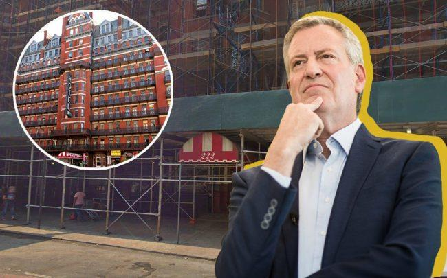Bill de Blasio and the Chelsea Hotel under construction and (inset) in 2012 (Credit: Getty Images, Google Maps, Wikipedia)