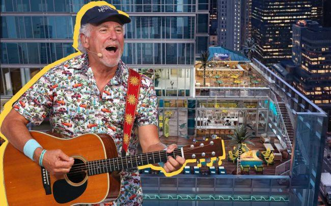 Jimmy Buffett and a rendering of Margaritaville Times Square (Credit: Getty Images, Margaritavilla/The McBride Company)