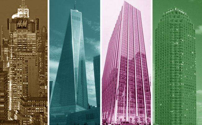 From left: 151 West 42nd Street, 1 World Trade Center, 1271 Sixth Avenue and 1 Court Square