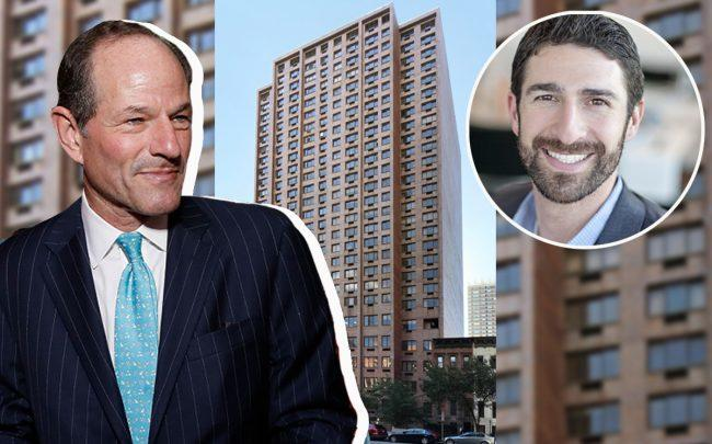 Eliot Spitzer, 220 East 72nd Street and Andrew Levison (Credit: Getty Images, Google Maps, Dermot Company)