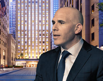 RXR Realty's Scott Rechler and 75 Rockerfeller Plaza (Credit: RXR Realty and Getty Images)